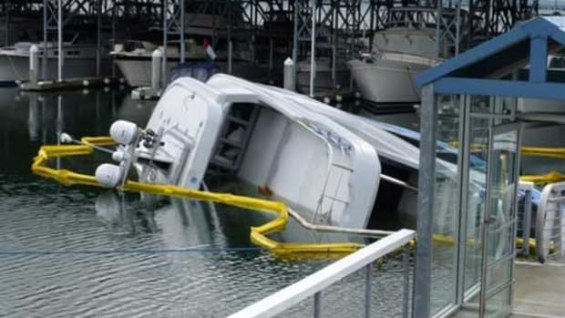 Northern Marine's 90-foot BADEN capsized during launch in Anacortes in 2014.