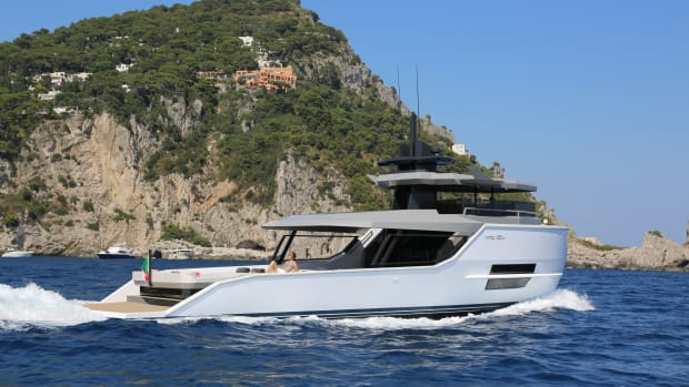 Within its 55-foot (16.8-meter) LOA is a 441-square-foot cockpit. Volvo Penta IPS 600s yield 25 knots at the top end and a 20-knot cruising speed, while her 12-knot displacement speed sips just 11 gallons per hour.