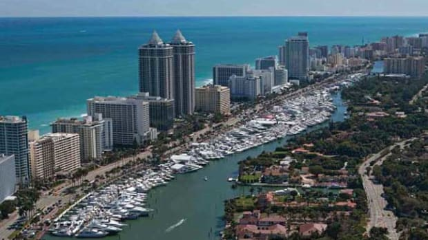 The Miami Yacht & Brokerage Show on Collins Avenue