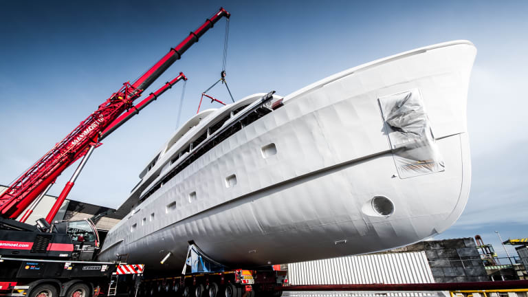 Hull and superstructure joined on new 36m Moonen Martinique