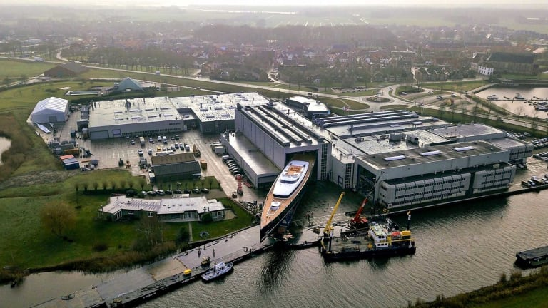 Royal Huisman rolls out 180ft+ / 55m+ motoryacht PHI for the next step