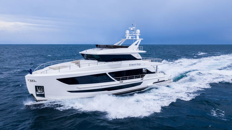 Crowned Eagle — first ever Horizon FD92 Series' tri-deck is christened in Fort Lauderdale