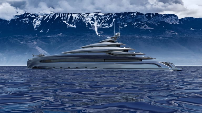Designer Lukasz Opalinski devises a new patented transom feature that works for superyachts from 197ft/60m to 520ft/160m in length— and we are not talking hydraulics! Check out his newest concept 393-foot / 120-meter Indah.