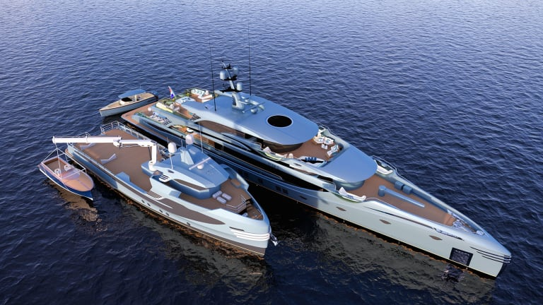 The Cor D Rover-designed 192ft/58.5m m/y PHI in build at Royal Huisman will be the world's longest motoryacht below 500 GT when launched in 2021