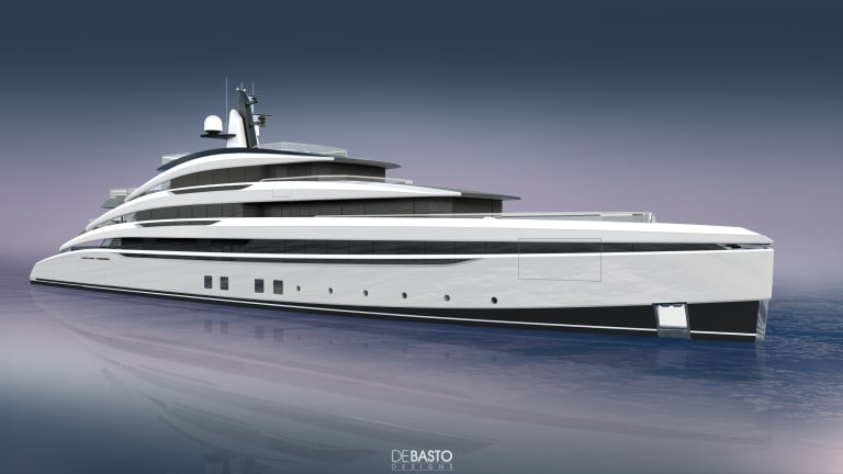 """DeBasto Designs presented a new """"Fastback"""" 230ft /70m motoryacht concept at the Monaco Yacht Show"""