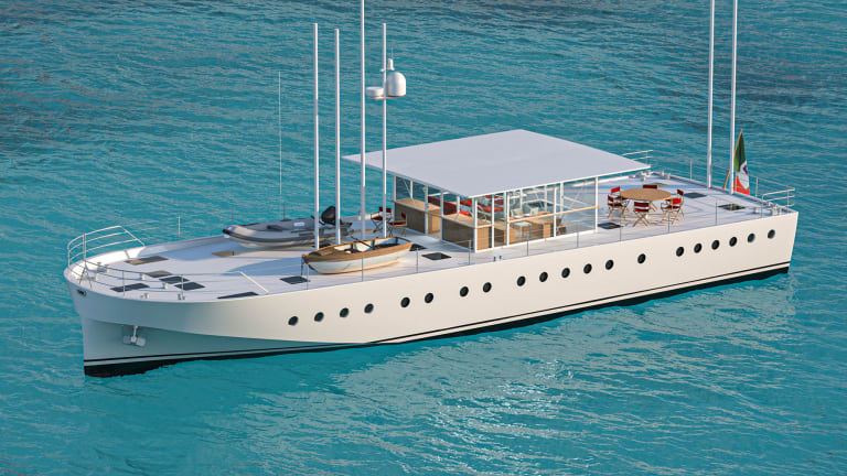 The 79-foot/24-meter Zattera— an idea by Renzo Piano and Olav Selvaag with design by Nauta is under construction at Castagnola Yacht
