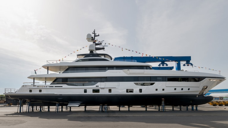 Italian shipyard Rossinavi's latest superyacht, Piacere/50-meter full-displacement hull vessel was recently launched from the yard's Pisa facility