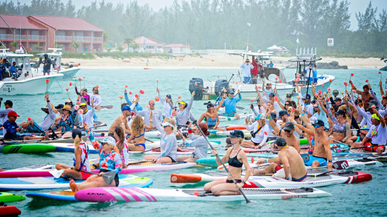 The Crossing For Cystic Fibrosis saw 140 paddleboarders and 50 boats brave the Gulf Stream to raise money for the Piper's Angels Foundation— Team Seakeepers' Dick Seidenspinner took part