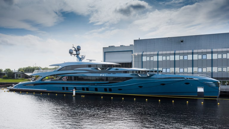 Royal Huisman launched PHI —its new 192ft /58.5m motoryacht — by far the longest motoryacht in the below 500GT category, based on current Classification rules