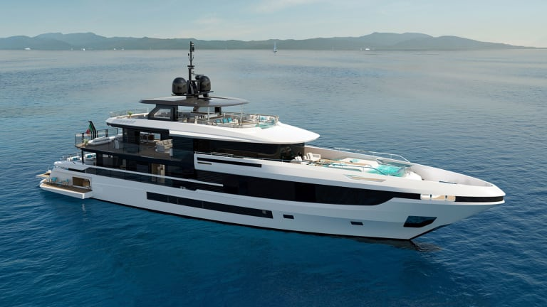 The new Mangusta Oceano 44—a glass villa afloat— features two infinity swimming pools