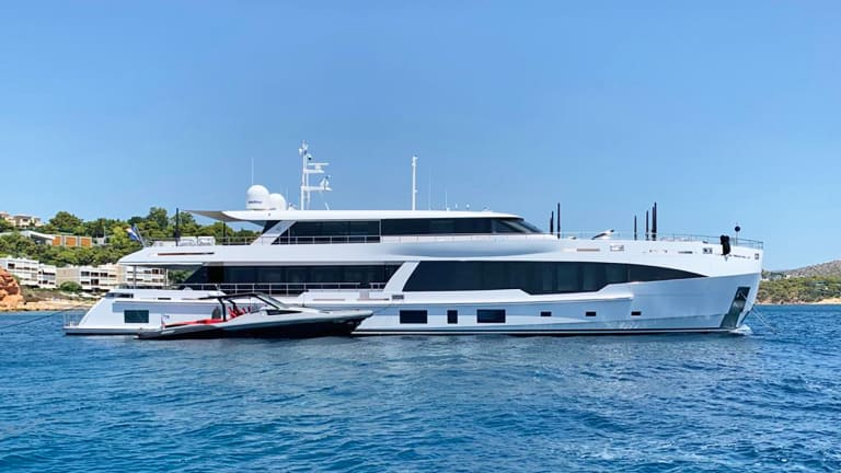 Step inside Hot Lab's  recently completed interior of new 135-foot/ 41-meter motor yacht Fifty Five built by Yildiz Gemi in Turkey