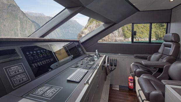 She also contains a wealth of other smoothly integrated technological elements, including twin 26 kW Northern Lights generators. There are two electrically adjustable seats at the helm, and the suede-lined dashboard comprises comprehensive navigational equipment by Simrad.