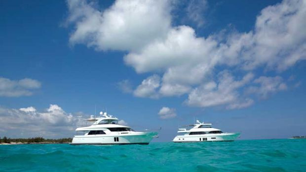Ocean Alexander's 72- and 85-foot models cruising off Paradise Island.