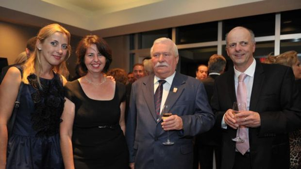 Sunreef's Ewa Starchuska, Yachts International's Editor-in-Chief Cecile Gauert, Lech Walesa, and Sunreef's Francis Lapp