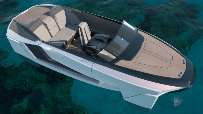 FUTUR-E THE ECO-SUSTAINABLE BOAT CONCEPT BY CENTROSTILE DESIGN THAT FLIES ON THE WAVES