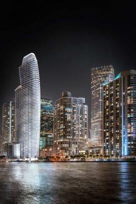 01_Aston-Martin-Residences-complete-tower-night-light-from-Miami-river-east