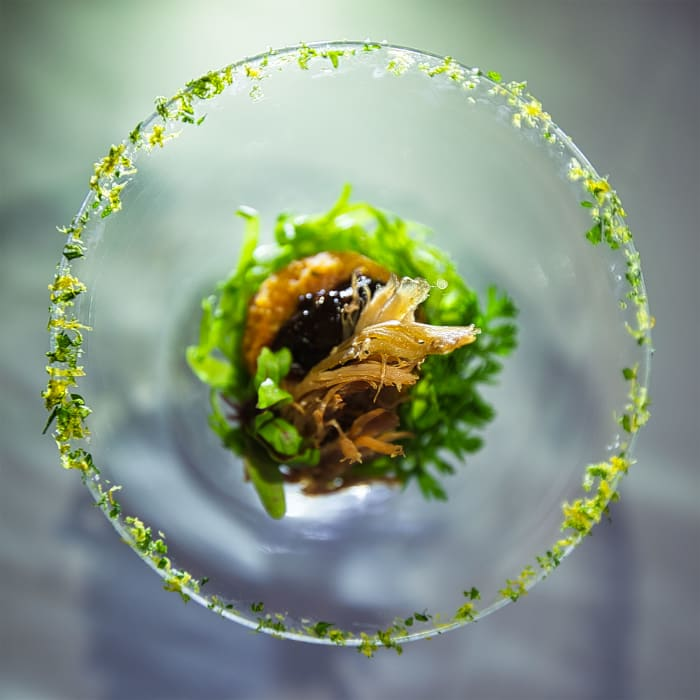Duck confit with lentil rissoles, citrus gremolata and onion chutney.