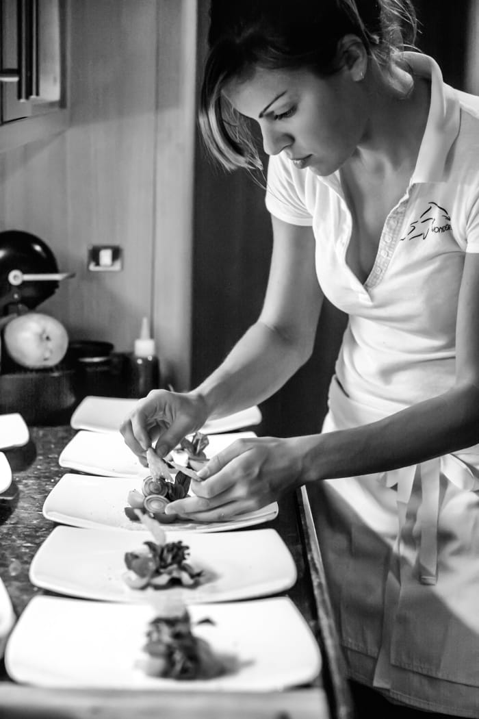 Elizabeth Lee plates her take on a caprese salad