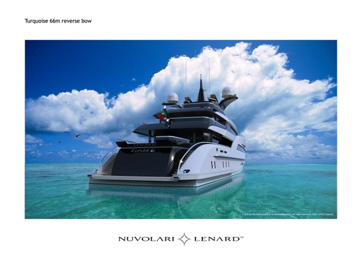 Nuvolari Lenard 66m Motoryacht for Turquoise Yachts, July 2016, Reverse Bow