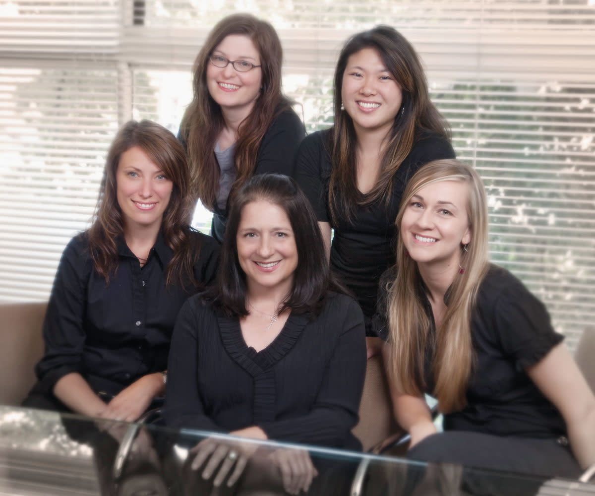 Clockwise from left: Heidi Snidow, Angela Paschall, Kira Iwasaki and  Abby Glover; center: Carol Williamson