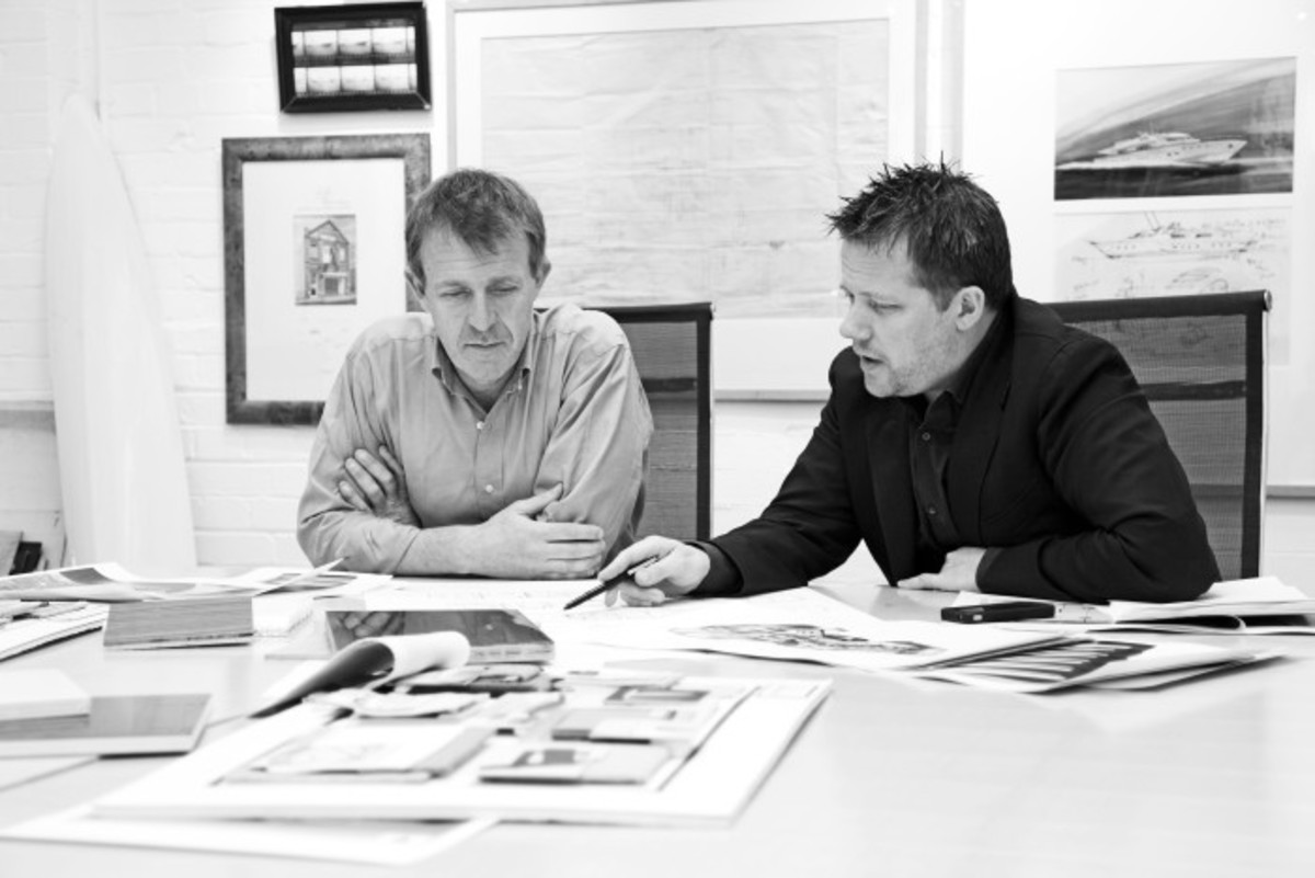 Dickie Bannenberg (left) at work with creative director Simon Rowell in their London-based studio.