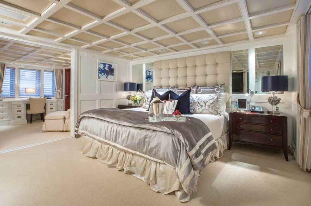 The owner's suite aboard 154-foot Admiral M/Y Rhino