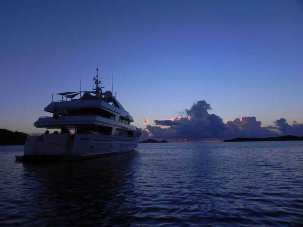 154-foot Admiral M/Y Rhino at daybreak in the Virgin Islands