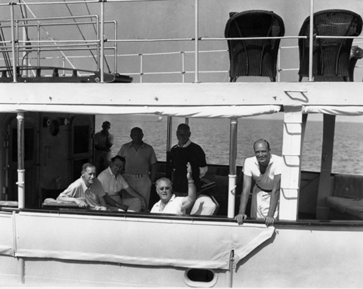 FDR aborad the U.S.S. Potomac