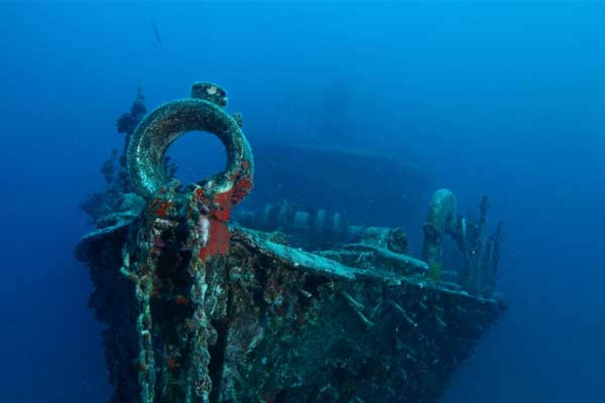A shipwreck in the waters of New Caledonia