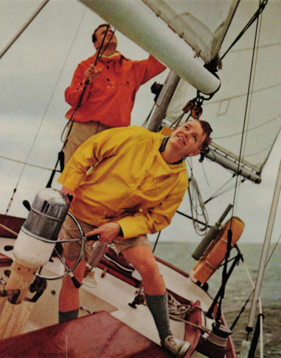 Tripp III's designer father, Bill Tripp Jr. (steering), on a Block Island 40 he designed as a young man.