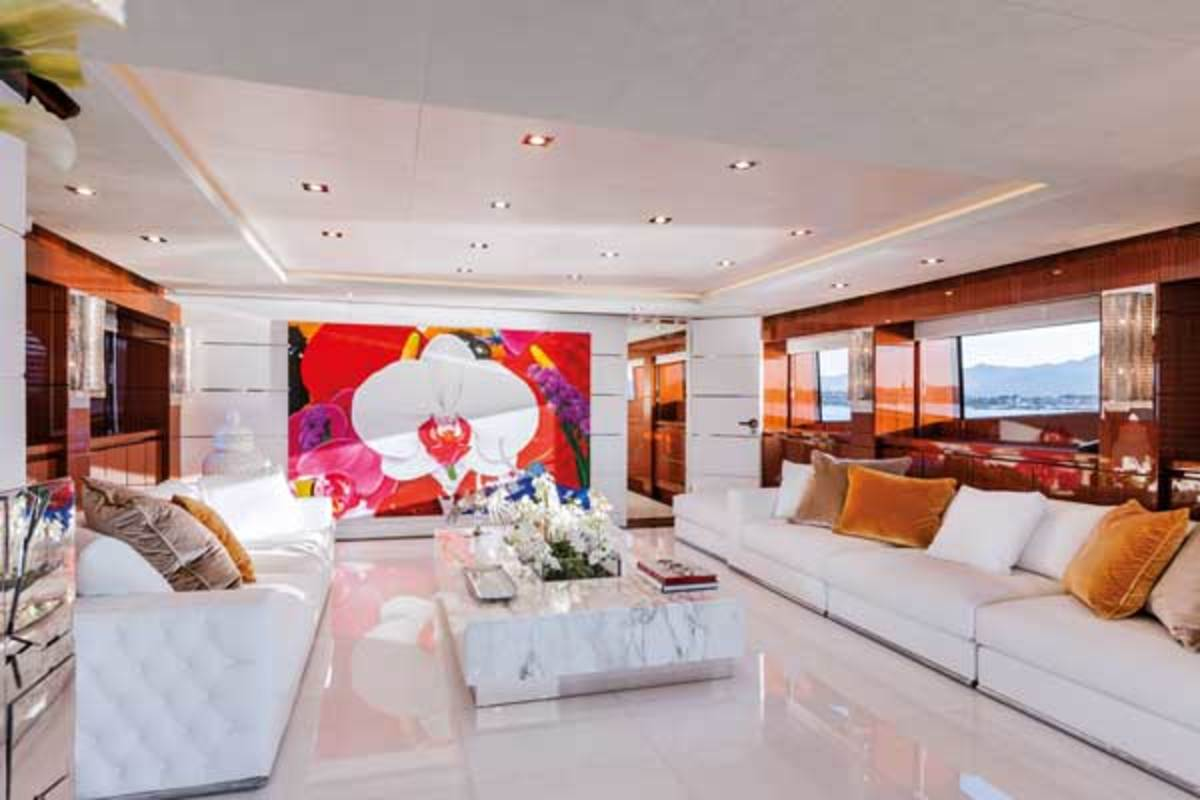 Bold contemporary artwork in the sky lounge and main salon punctuate the relatively sober interior décor.