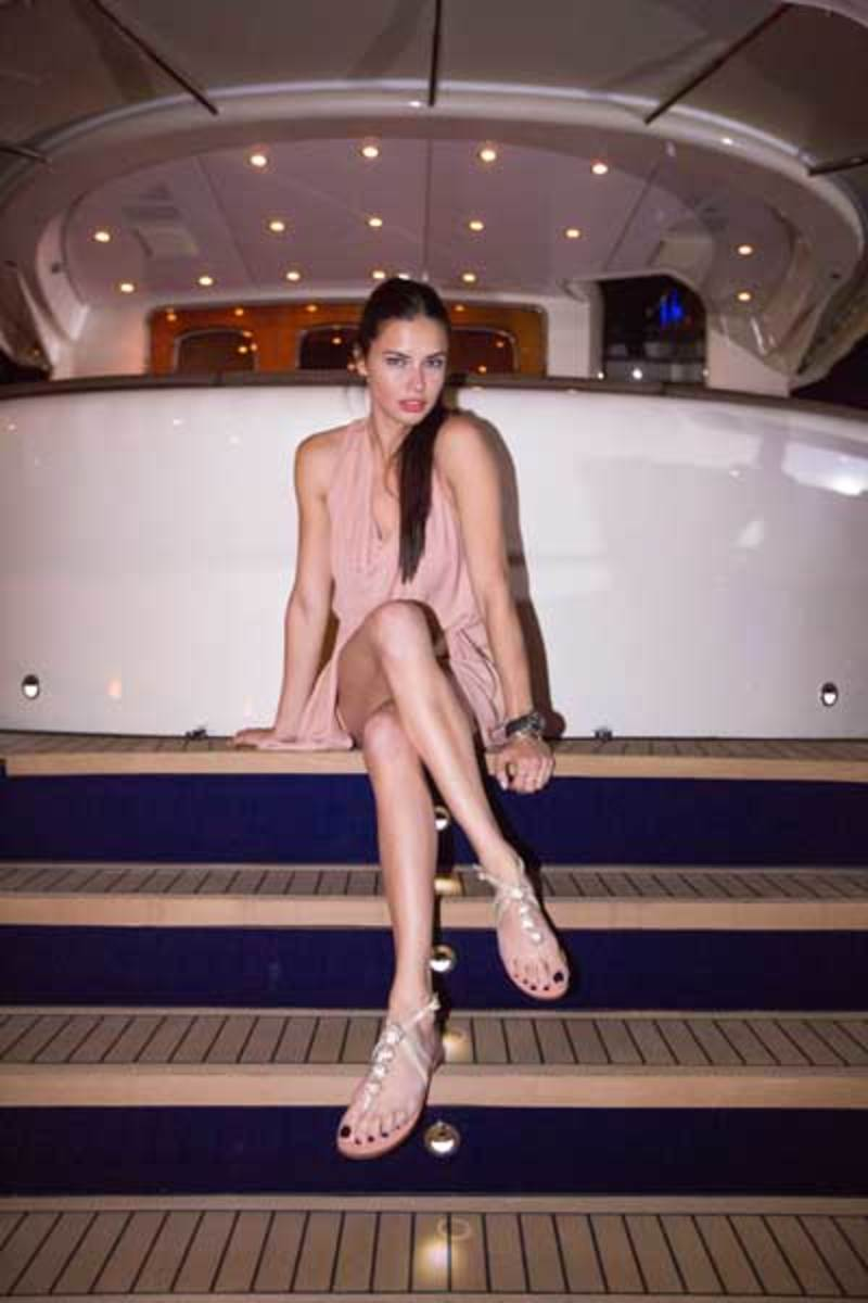 Supermodel Adriana Lima on the Z68 at Zeelander Yachts' VIP Cocktail Party at the Miami Yacht & Brokerage Show