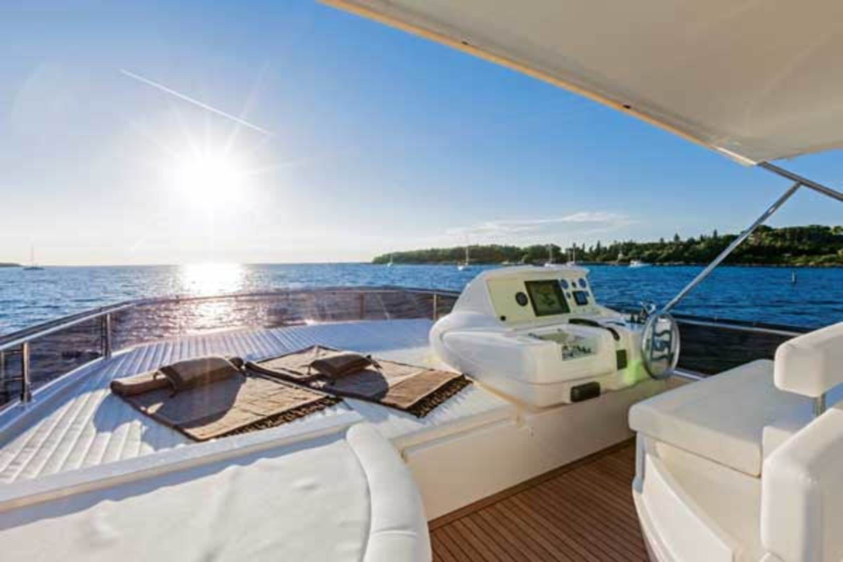 View of the flybridge on the Ferretti 750