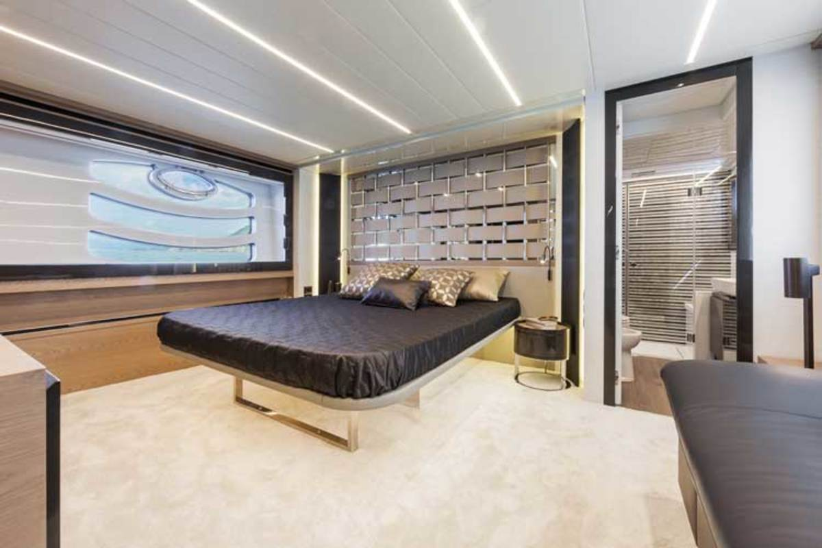 The master suite amidships gets the lion's share of space belowdecks.