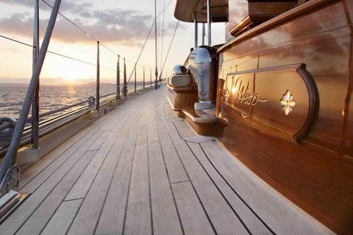 Handlaid decks built using teak strips follow the same construction techniques of superyachts built in the 1930s.