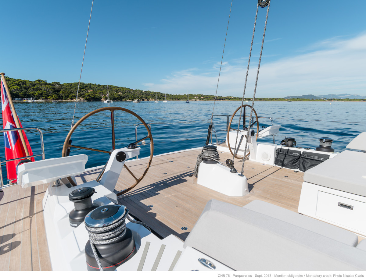 Dual helms aft on the CNB 76 sailing yacht.