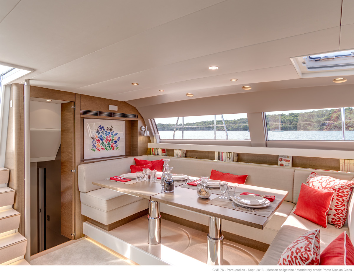 The coachroof—low enough to achieve a cool, contemporary profile, yet with excellent visibility outward from the salon.