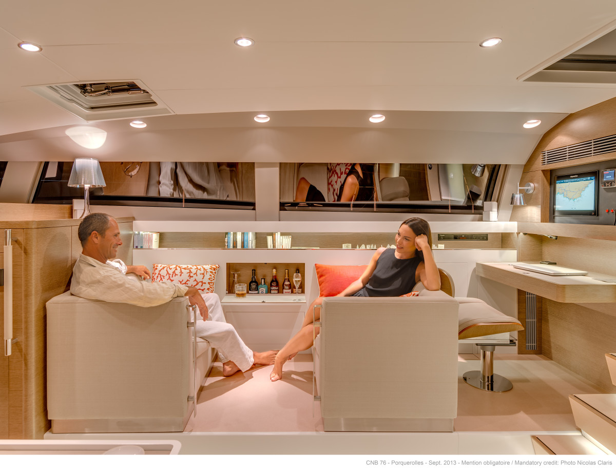 Starboard side of the salon inside the CNB 76. Note the private bar.