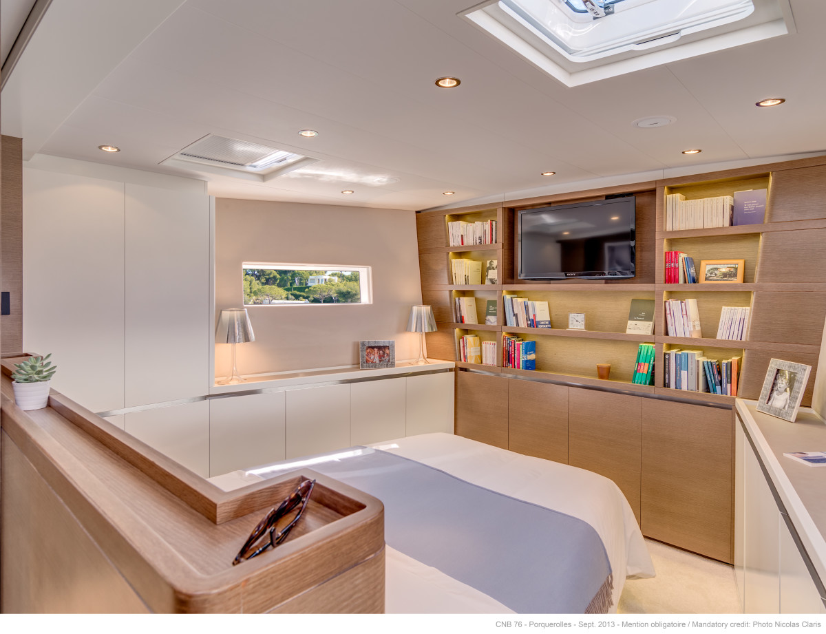 Far forward and away from the action, the owner's suite feels blissfully secluded.
