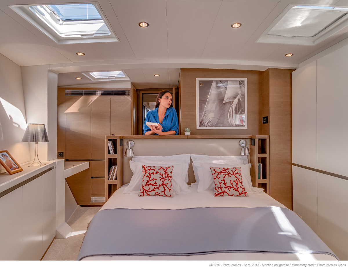 In the owner's stateroom, the queen-size bed's headboard is orientated aft for added privacy.