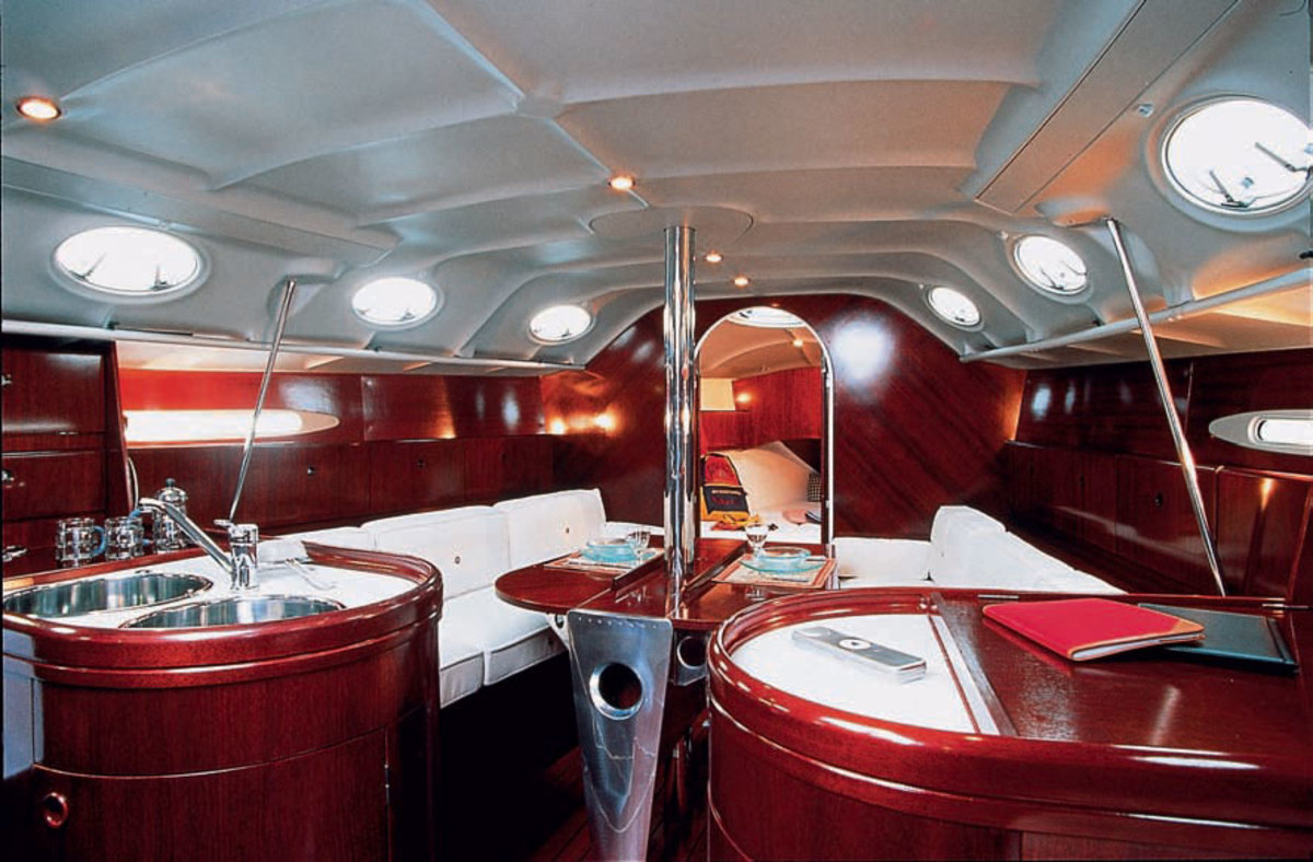 The interior of a Beneteau sailboat designed by Starck