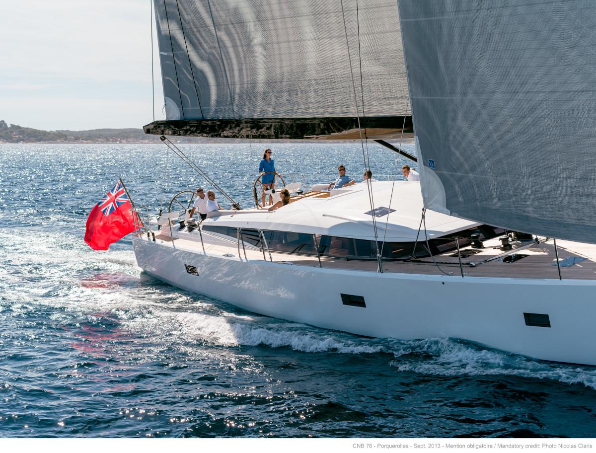 CNB 76 sailing yacht underway.