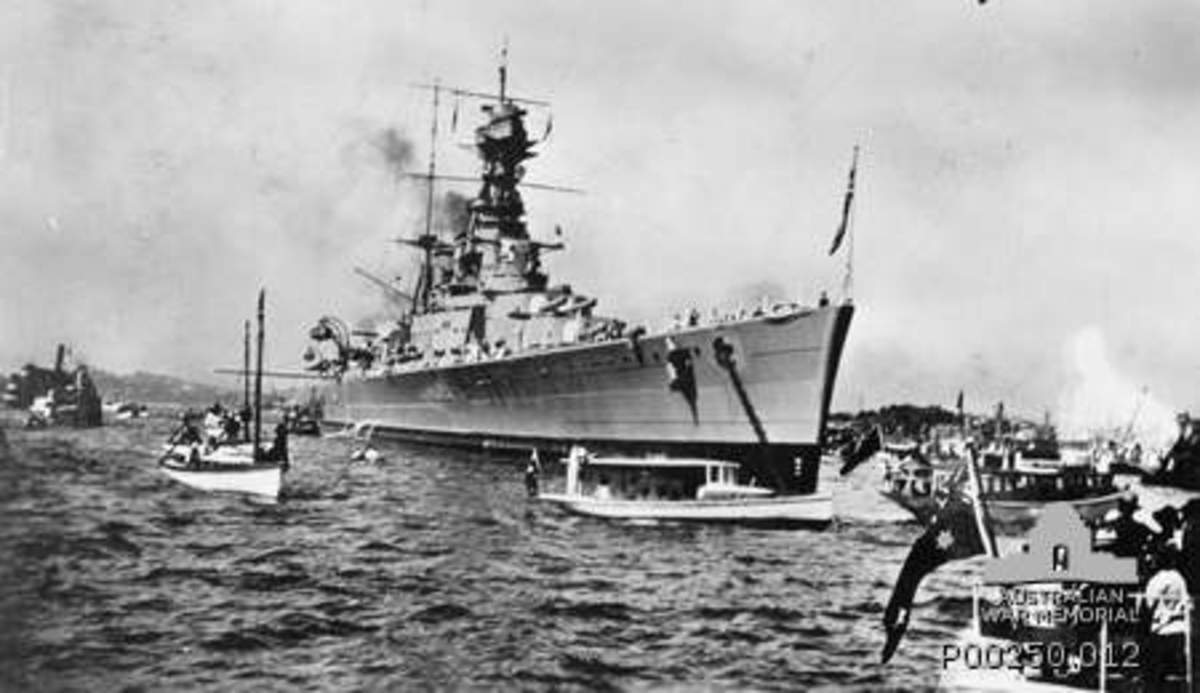HMS Hood in Sydney Harbour shortly after arriving with the other ships of the Special Service Squadron on 9 April 1924