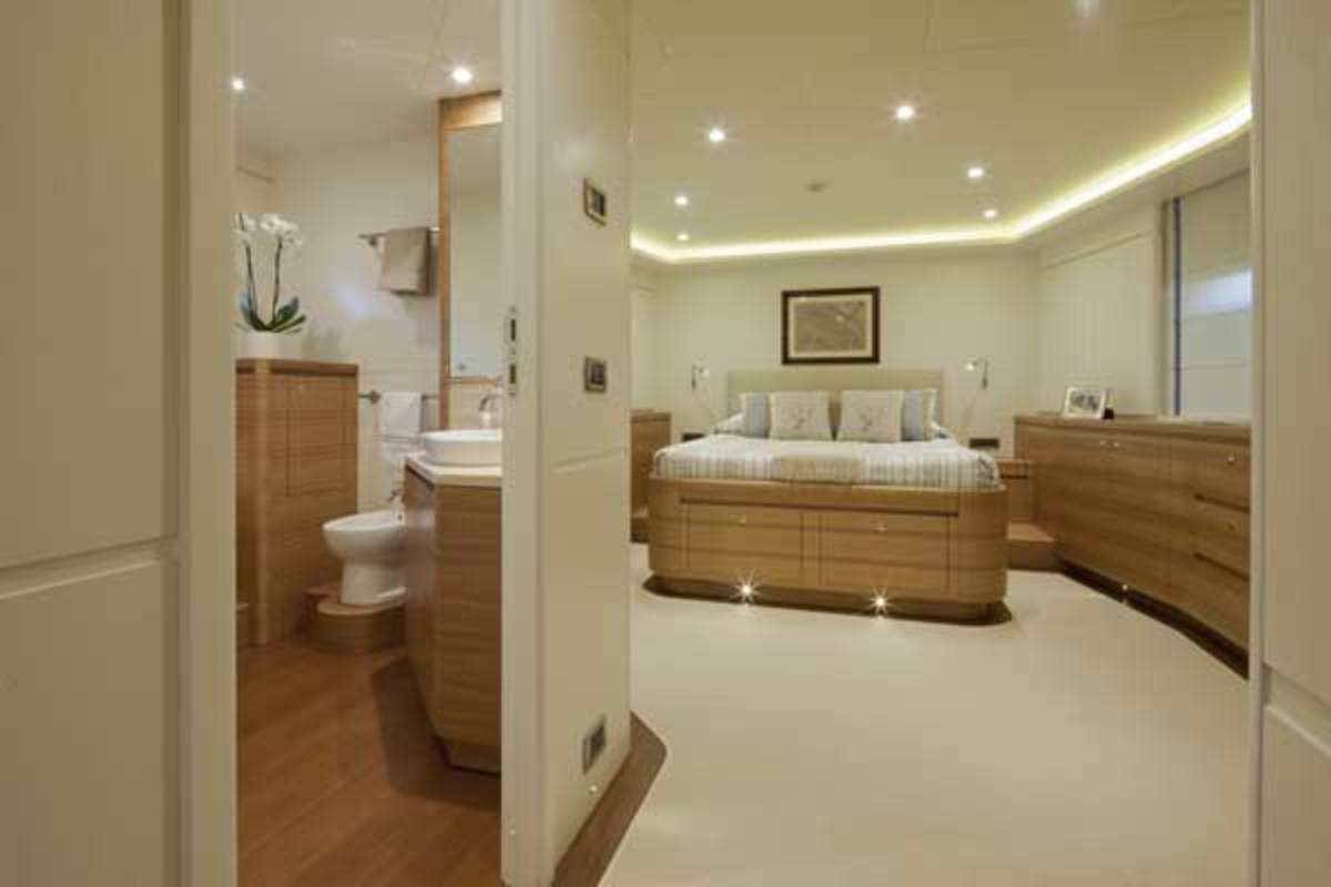 The yacht's VIP suite in the bow