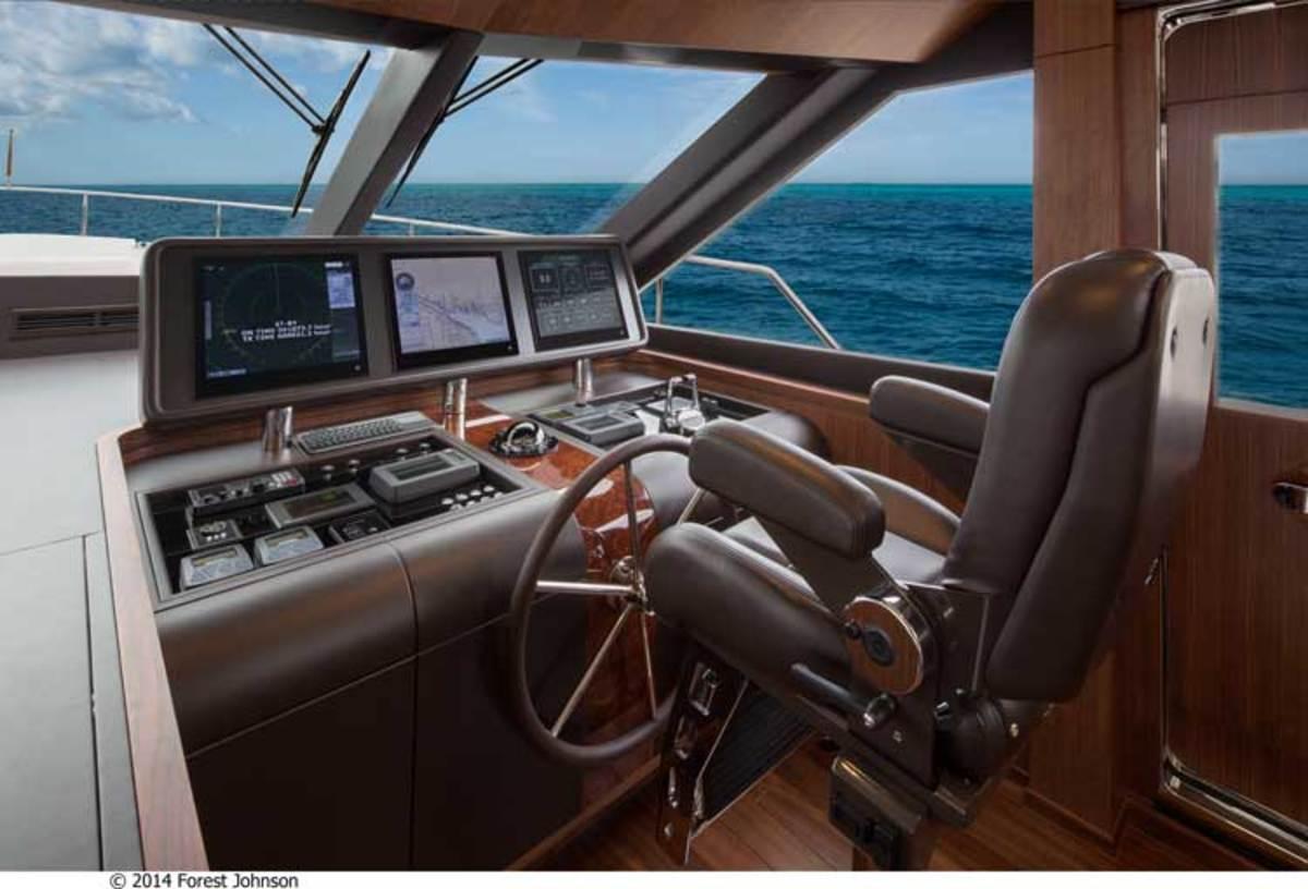 Main helm on the Ocean Alexander 100 Motoryacht