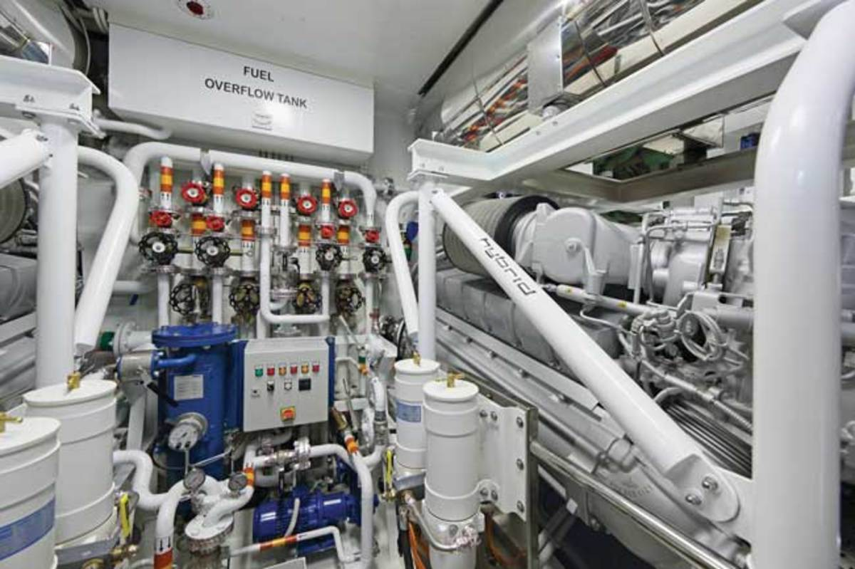 The engine room is crowded, but as an unmanned machinery space, it can be monitored from the bridge.