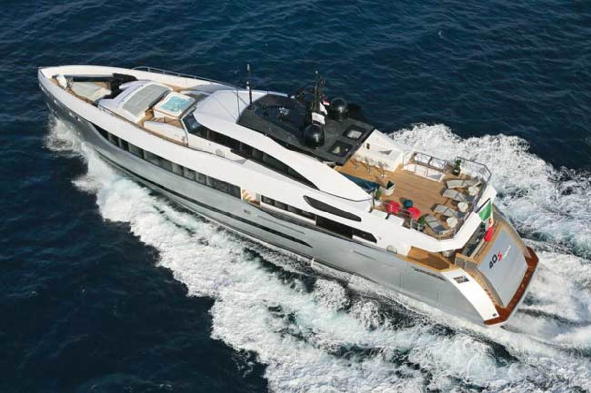 An aerial shot of the yacht reveals the sundeck layout and forward Jacuzzi.