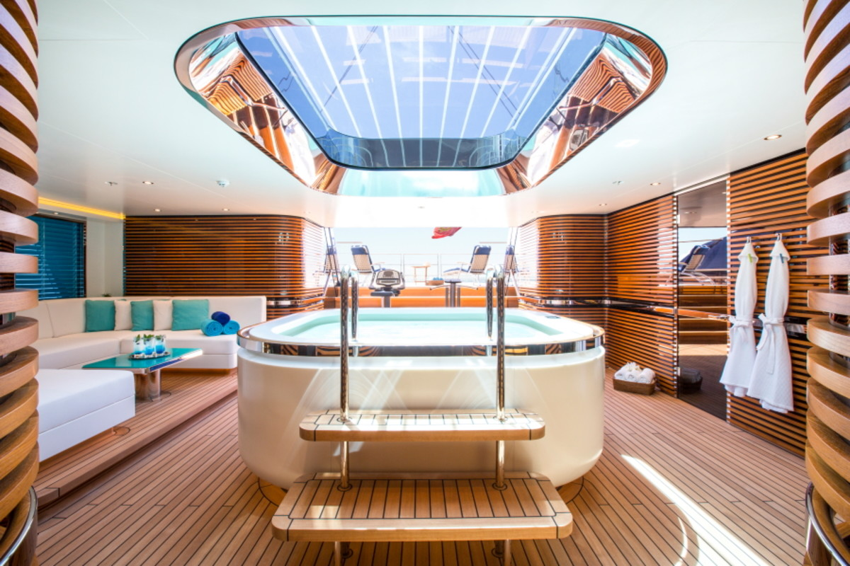The hot tub in the beach club can be seen from the skylight on the main deck above.