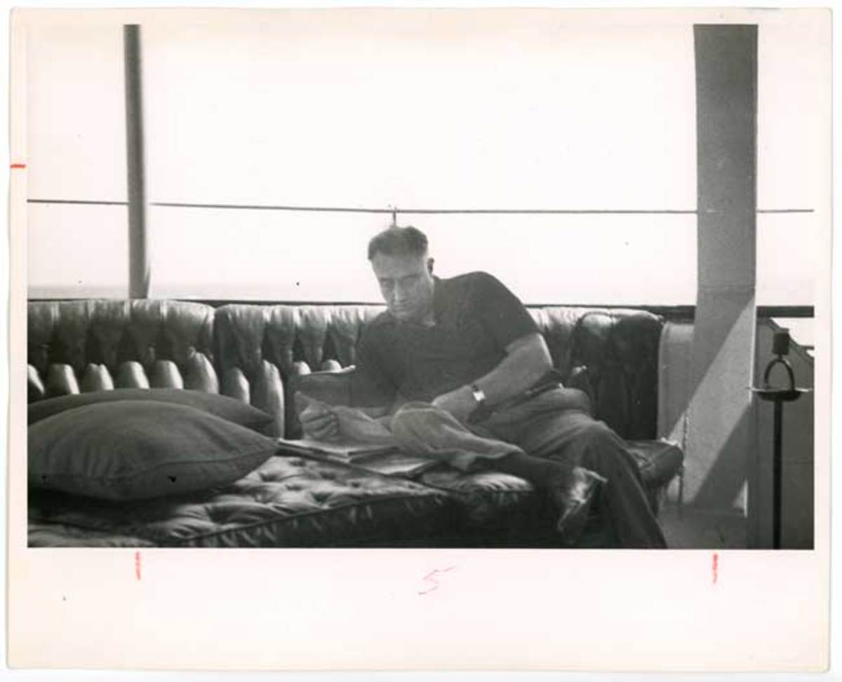 Roosevelt lounges aboard the USS Potomac in 1936.