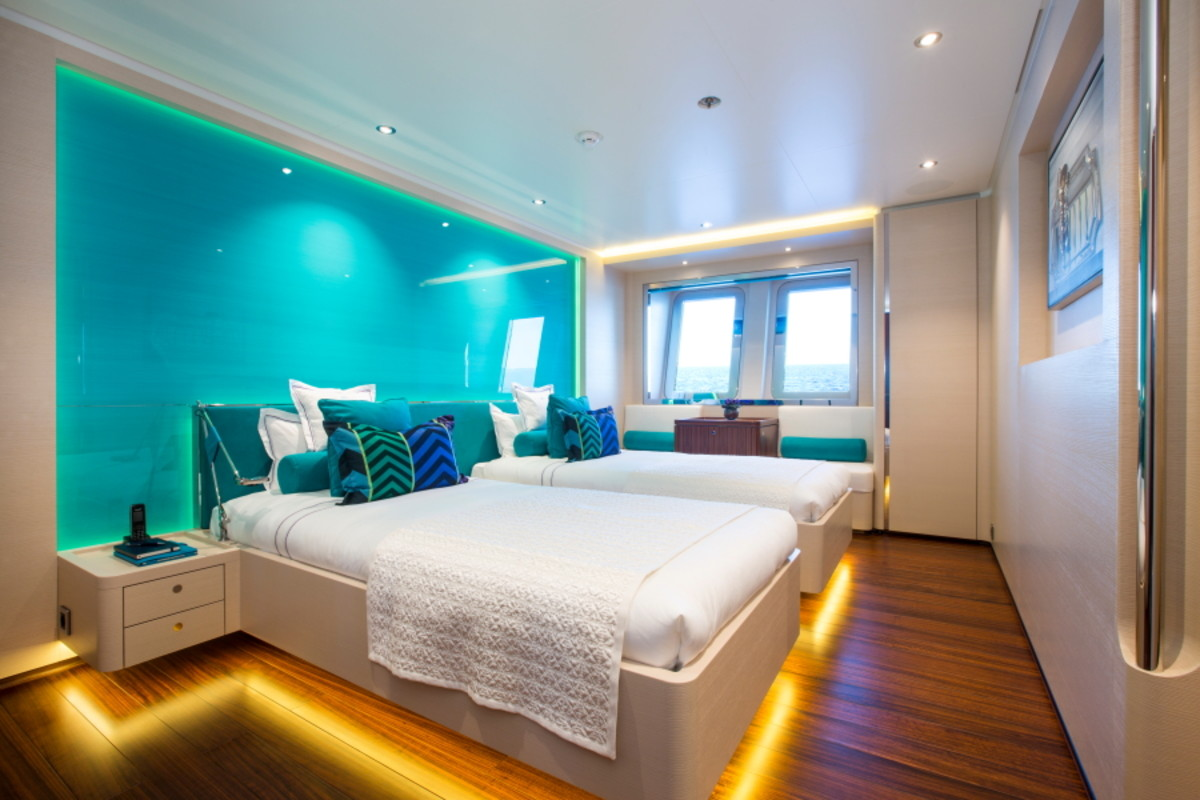 The staterooms are clean and crisp with aquamarine color schemes.